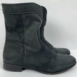 Frye Cara Roper Short Above Ankle Black Boots
